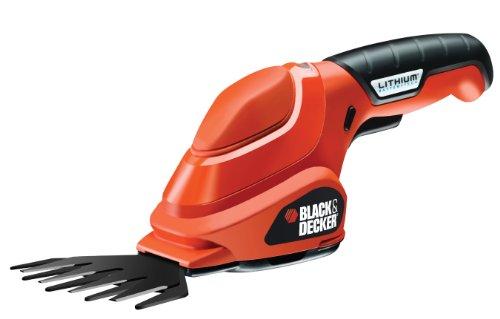 Black + Decker 3,6 V Li-Ion Akku Grasschere, ergonomisches Design, mit Ladestation und Ladekabel, LED-Ladeanzeige GSL200