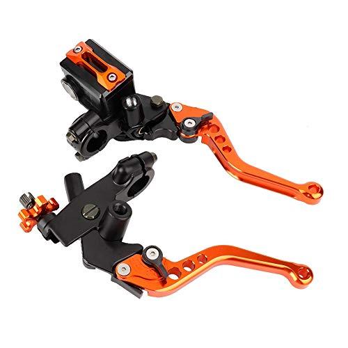 EVGATSAUTO Remkoppeling Master 1 paar 7/8″(22 mm) universele motorcilinderreservoirhendels(Oranje)