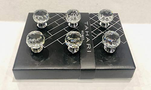 Tahari Home Set of 6 Drawer KNOBS Pull Mirror Crystal Glass Round ()