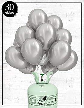 Bombona de Helio Mister Helio + Globos látex Plata: Amazon.es: Juguetes y juegos