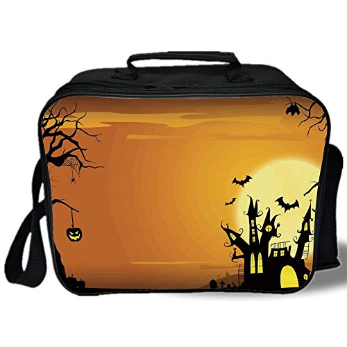 (Halloween Decorations 3D Print Insulated Lunch Bag,Gothic Haunted House Bats Western Spooky Night Scene with Pumpkin,for Work/School/Picnic,Orange)