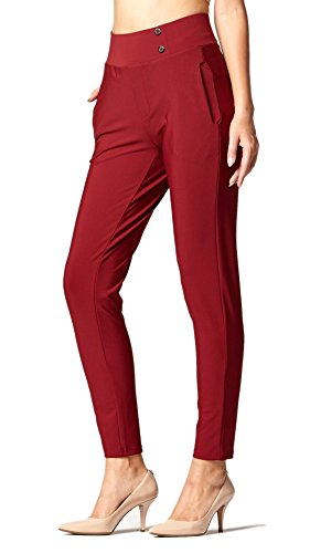 - Premium Women's Stretch Dress Pants - Treggings - Slim Burgundy - Small - YS07-Solid-Burgundy-S