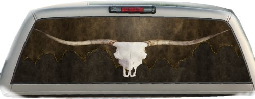 Longhorn Skull on Stitched Leather- 22 Inches-by-65 Inches- Rear Window Graphics ()