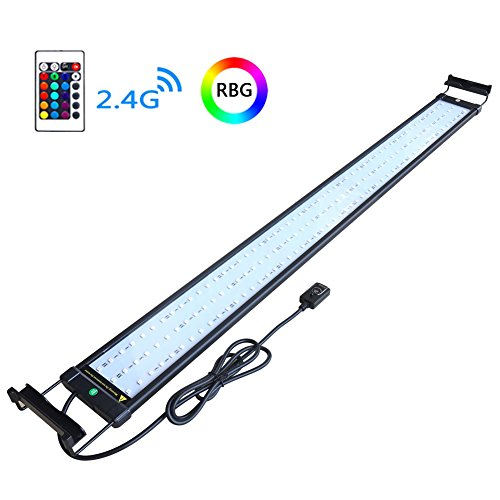 COODIA Aquarium Hood Lighting Color Changing Remote Controlled Dimmable RGBW LED Light for Aquarium/ Fish Tank, Extendable (For Fresh and Salt Water)