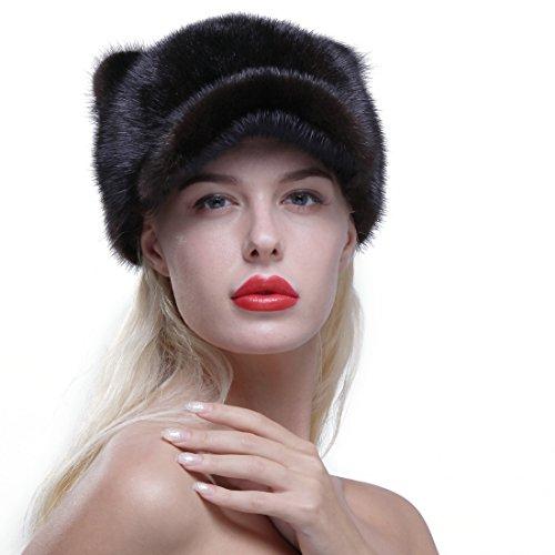 URSFUR Genuine Mink Fur Baseball Cap Soft Cat Ears Women Winter Hat Coffee