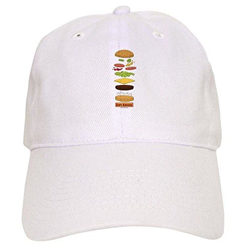CafePress Bob's Burgers Stacked Burger Baseball Cap with Adjustable Closure, Unique Printed Baseball Hat White (Best Burgers In Katy Tx)