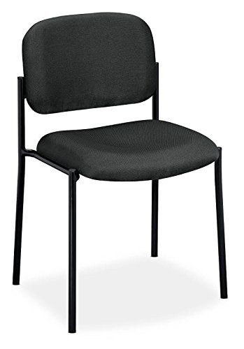 basyx by HON Guest Chair - Upholstered Stacking Chair without Arms, Office Furniture, Charcoal (HVL606) - Guest Smart Leg