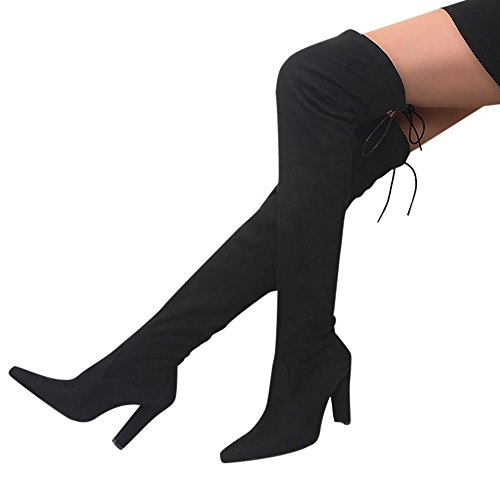 Clearance Women Boots Cinsanong Over The Knee Stretch High Boots Slim Faux High Heels Shoes