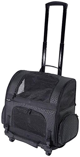 Gen7Pets Roller-Carrier Backpack with Smart-Level (Black Geometric, Large)