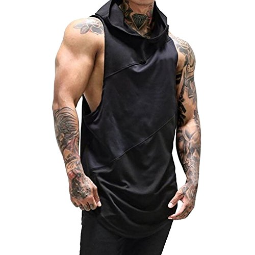 PASHY Men's Tops and Hoodies Men's Gyms Fitness Muscle Mesh Hoodie Solid Sleeveless Singlet T-Shirt Top Vest Tank Black ()