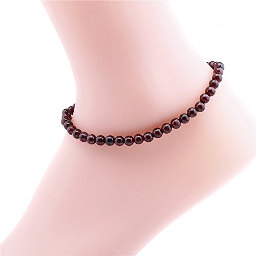 Qitian 6mm Garnet Ankle Bracelet Stone Beads Chain Anklet Jewelry for Women
