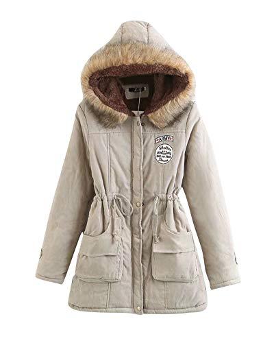 Casual Pullover Mujer Capucha De Slim S Chaqueta Caqui Parka Liangzhu con Capa Abrigo Largo Abrigos Jacket ztxwEnnqOI