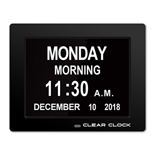 Clear Clock [Newest Version] Extra Large Digital Memory Loss Calendar Day Clock With Optional Day Cycle + Alarm Perfect For Elderly + Impaired Vision Dementia Clock - Clock Time Day