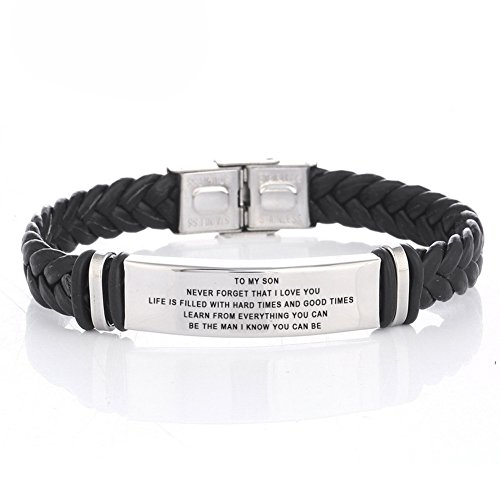 LF 316L Stainless Steel Free Engraving Name Date Personalized Customized TO My Son Bracelet Braided Leather Inspiration Cuff Bracelets for Son for Birthday Christmas Gift from Dad Mom (Mothers Mom Name Bracelet)