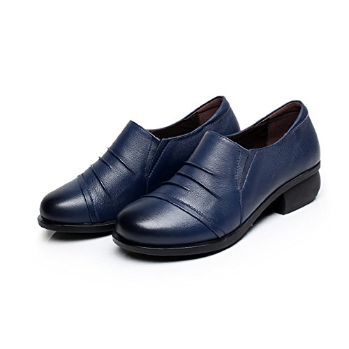 zapatos de cuero de la primavera solteros/La Sra redonda zapatos casuales/ zapatos de moda con la boca profunda B