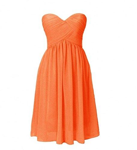 La_mia Braut Chiffon Traegerlos Abendkleider Ballkleider Partykleider Jugendweihe Kleider Cocktail Kleider Mini A-Linie Orange L4Cl1