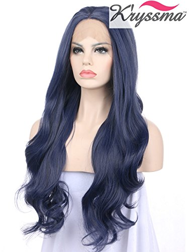 K'ryssma Long Wavy Blue Synthetic Lace Front Wig