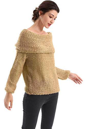 BodiLove Women's Off Shoulder Chunky Knit Bell Sleeve Sweater Camel M ()