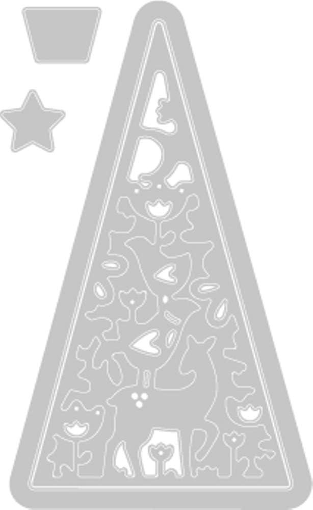Multicolor us:one Size Sizzix 663442 Folk Christmas Tree by Lisa Jones Dies