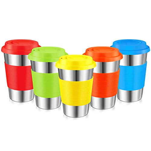Stainless Steel Cups, Kereda Sippy Cup For Kids/Adults 16oz With Silicone Sleeves And Lids, Bpa Free Premium Metal Drinking Glasses (Pack Of 5)