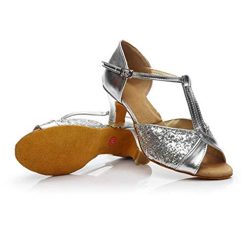 Salón Plata Sandalias Cinturón Interior Pelo Show Zapatos Danza Baile Alto Hebilla Mujeres Imitación De Latino Verano Diamante Tacón Beladla A Cruzado Moderno 8xnqdw48R