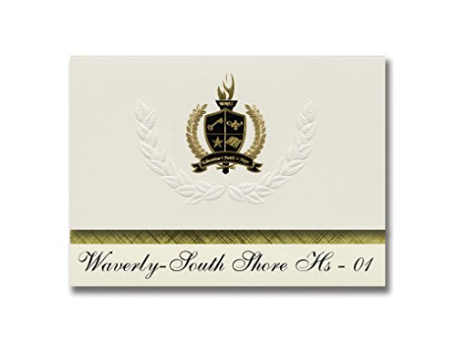Premium South Sd Card (Signature Announcements Waverly-South Shore Hs - 01 (Waverly, SD) Graduation Announcements, Presidential style, Elite package of 25 with Gold & Black Metallic Foil seal)