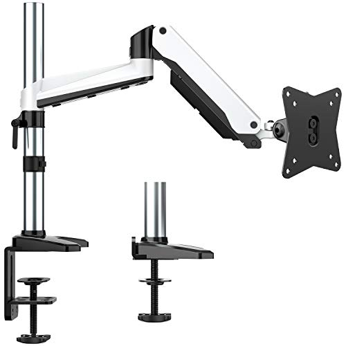 HUANUO Monitor Stand - Premium Gas Spring Single Arm Monitor Desk Mount Fits 17 to 32 Inch Computer Screens, Height Adjustable Aluminum VESA Bracket with C Clamp and Grommet Kit
