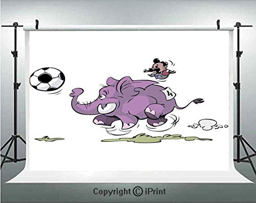 Elephant Photography Backdrops Elephant is Playing Soccer with a Kid Moustache Sports Decor Football Print,Birthday Party Background Customized Microfiber Photo Studio Props,7x5ft,Purple White
