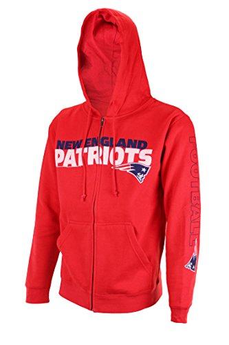 New England Patriots NFL Men's 'Hard Count' Full Zip Fleece Hoodie, Red