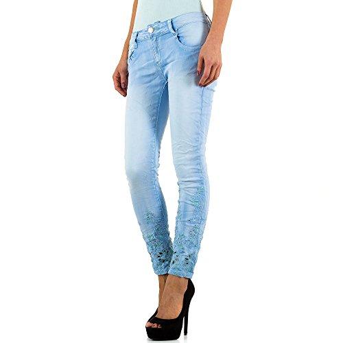Mozzaar Bestickte Plus Size Jeans Für Damen , Blau In Gr. 40 bei Ital-Design