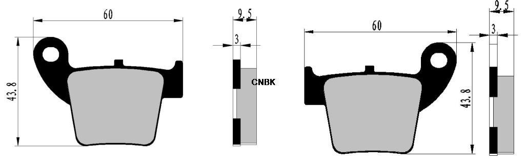 CNBK Motorcycle Semi-Metallic Brake Shoe Pads Set fit HONDA Dirt Bike CRF250 CRF 250 cc 250cc R4 R5 R6 R7 04 05 06 07 2004 2005 2006 2007 4 Pads