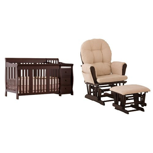 (Stork Craft Portofino 4-in-1 Fixed Side Convertible Crib and Changer, Espresso and Hoop Glider and Ottoman Set, Espresso/Beige)