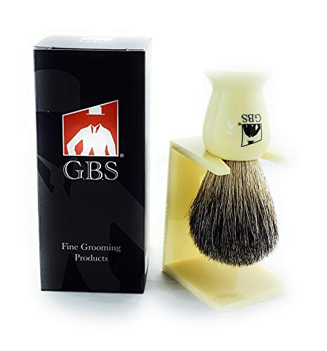 GBS Premium Badger Hair Shaving Brush with Free Stand Compliments Any Razor and Shaving Soap for The Best Wet Shave from G.B.S