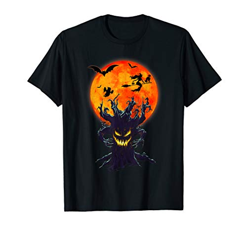 Boo Halloween T-Shirt With Flying Bats And Witch Black Cat]()