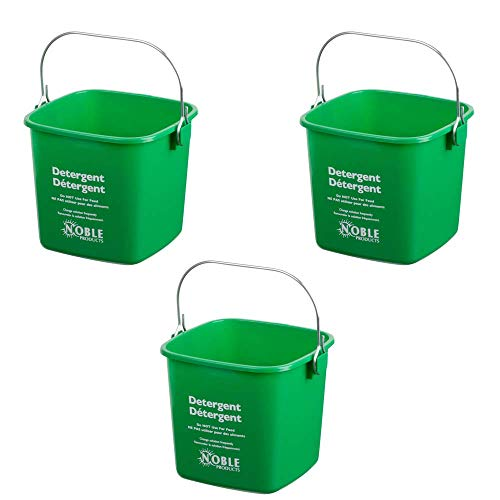 (Small Green Detergent Bucket - 3 Quart Cleaning Pail - Set of 3 Square Containers)