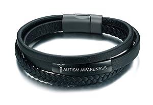 VNOX Black Handmade Braid Genuine Leather Medical Symbol Alert Cuff Bangle Bracelet for Men Women