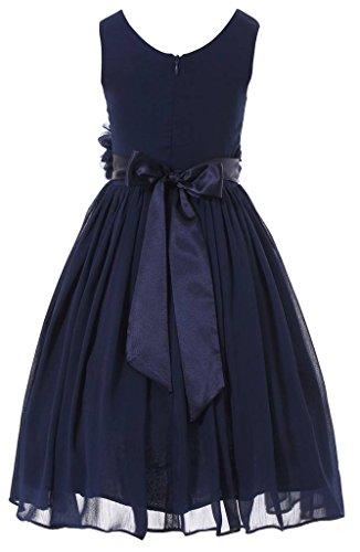 Bow Dream Flower Girl Dress Junior Bridesmaids V-Neckline Chiffon Navy Blue 16 by Bow Dream (Image #2)