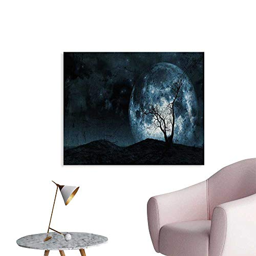 Fantasy Wall Paper Night Moon Sky with Tree Silhouette Gothic Halloween Colors Scary Artsy Background Decor Sticker W36 xL24 ()