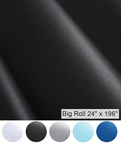 Oxdigi Black Peel and Stick Wallpaper Self Adhesive Vinyl Contact Paper Decorative Removable Film for Shelf Liner Cabinet Table Drawer 24 x 196 Inches (Matte Solid Black)