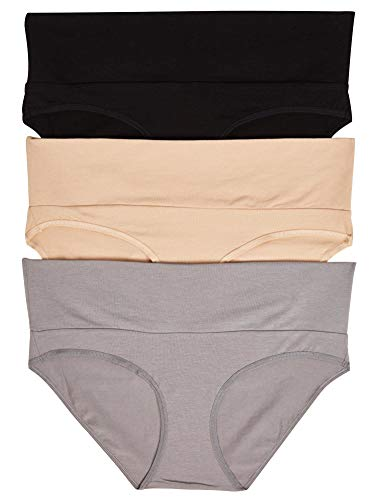 Fold Brief - Motherhood Maternity Women's Maternity 3 Pack Fold Over Brief Panties, Black, Nude, Flat Grey/Multi Pack, Small