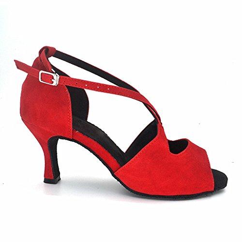 5 Avec Femmes Au Peep Nubuck Sandales Chaussures Royaume Misu Tango De Salsa Salle 8 Rouge Talon Danse uni Latine Pratique 3 Toe De Bal fR1E1qwx6