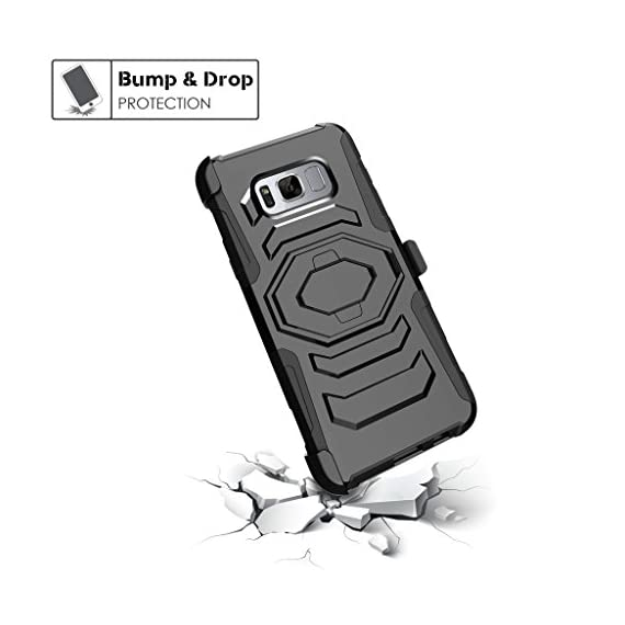 TurtleArmor | Compatible with Samsung Galaxy S8+ Case | S8 Plus Case | G955 [Octo Guard] Dual Layer Case Holster Belt Clip Sturdy Kickstand Cover - 5