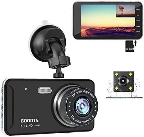 GOODTS Dual Dash Cam Front and Rear 4 IPS Screen FHD 1080P 6G Lens Car Dashboard Camera Recorder with Reversing Assist Night Vision G-Sensor Parking Monitor Motion Detection Loop Recording No Card