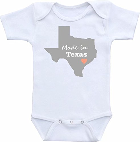 Promini Funny Made in Texas Baby Bodysuit Cute Infant One-Piece Bodysuit Baby Romper Best Gift for Baby White (Made Texas Onesie Baby In)