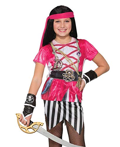 (Child's Girls Swashbuckler Pink Pirate Printed Costume Sublimation)