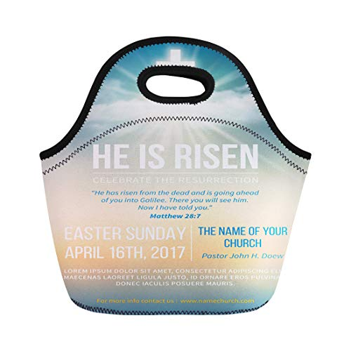 Semtomn Lunch Tote Bag Christian for Easter Celebration Church Text He Is Risen Reusable Neoprene Insulated Thermal Outdoor Picnic Lunchbox for Men Women