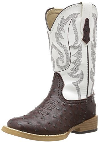 Roper Square Toe Faux Ostrich Western Boot (Toddler/Little Kid),Brown/White,11 M US Little Kid