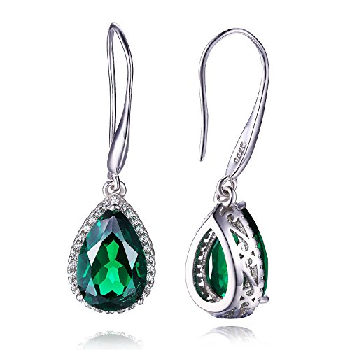 Womens-58ct-Created-Green-Nano-Emerald-Pear-Cut-925-Sterling-Silver-Dangle-Earrings-Set