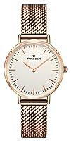 Tonnier Rose Golden Stainless Steel Mesh Band Super Slim Women Watches Quartz Watch