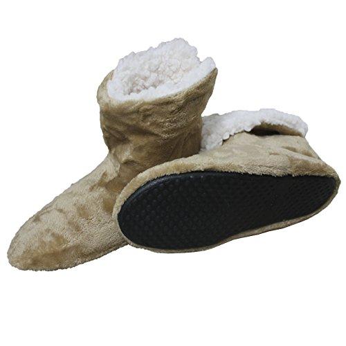 FERETI Stivali Casa Uomo Marrone Chiaro Pelliccia Pantofole Stivaletto Suole Gomma Pantofola Fodera di Pile Caldi Inverno
